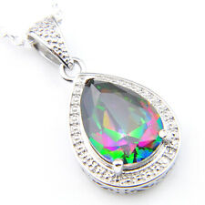 Christmas Jewelry Gift Round Cut Mystic Topaz Gemstone Silver Pendant Necklace