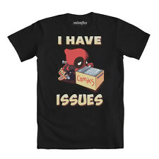 Marvel Comics Deadpool I Have Issues Comic Book Adult T-Shirt - Black