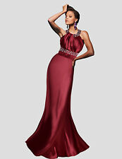 Satin Elegant Halter Neck Rhinestone Evening Party Prom Fitted Maxi Gown Dress