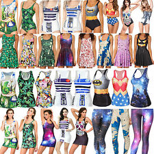 Various Womens Summer Digital Print Monokini Skater Dress Tank Top Leggings Vest