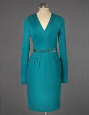 Boden Women's Brand New Aperitif Dress Bright Emerald Green Jersey Velvet Trim