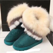 Hot Womens Sweet Big Faux Fur Mid Calf Snow Boots Round Toe Fashion Suede Shoes