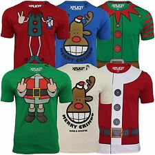 Mens Xmas Christmas Graphic T Shirts Xplicit Funny Rude Fat Santa, Cheeky Elf