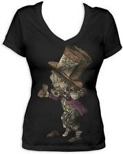 Alice in Wonderland Mad Hatter LIC NWT Womens V-Neck T-Shirt - Black -