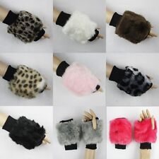 FAUX FUR FUZZY CUFF ARMWARMERS FINGERLESS GLOVES MITTENS #GV040