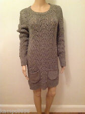 New M&S Brown Mole Chunky Cable Knit Mohair Wool Blend Jumper Dress Sz 10 12 18