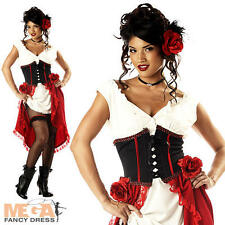 Deluxe Cantina Gal Ladies Spanish Senorita Gypsy Fancy Dress Costume Outfit 6-14