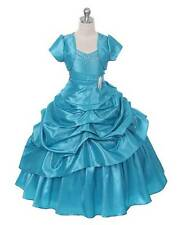 New Turquoise Floor Length Flower Girl Princess Dress Pageant Party Wedding USA