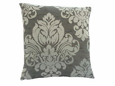 Grey & silver classic faux silk  damask scatter cushion cover in various sizes