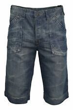 Mens Cargo Shorts Blue Jean Washed Denim Raw Vintage