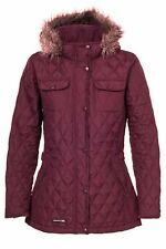 RRP: £49.99! LADIES TRESPASS QUILTED JACKET FUR HOOD BURGUNDY TRUDEY PRDY
