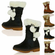 D6Y GIRLS BOOTS CHILDRENS WINTER FUR LINED POM POM FLAT MID CALF WARM NEW SIZE