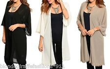Pom Fringe Trimmed Chiffon 1/2 Sleeve Open Front Tunic Cardigan/Cover-Up