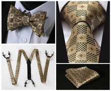 6C02Z Brown Check Jacquard Silk Tie Handkerchief Suspenders Self Bow Tie Set