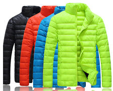 Fashion Mens Winter Warm Hooded Candy Color Slim Down Coat Jacket Overcoat Parka