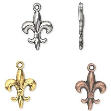 Lot of 10 Plated Pewter 5/8 inch 15mm Fleur De Lis Drop Charms w/ Antique Finish