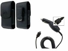 Car Charger + Leather Vertical Clip Case for Motorola Cell Phones All Carriers