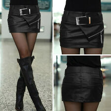 Sexy Womens Zipper Leather Bodycon Package Hip Black Mini Skirt Shorts With Belt