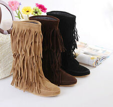 New Hot Fringes Flat Heel Shoes Women's Mid Calf Tassels Boots US All Size B016