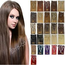 """7PCS 15""""-22"""" 27Colors CLIP IN REMY REAL HUMAN HAIR EXTENSIONS STRAIGHT FULL HEAD"""