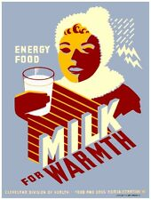 9495.MIlk for warmth.energy food.woman drinks milk.POSTER.decor Home Office art