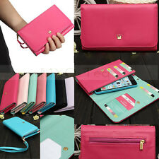 Envelope Zipper Leather Wallet Purse Case Cover For iPhone6 Samsung LG HTC Nokia