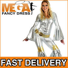 Silver Dancing Queen Fancy Dress Ladies 1970s Jumpsuit Party Abba Costume 6-22
