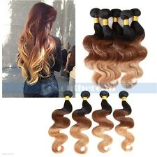 "Ombre 14""-28"" 50g Brazilian Remy Body Wave Unprocessed Human Hair Extensions"