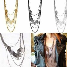 New Fashion Womens Girls Multilayer Sweater Necklace Leaves Pendant Long Chain