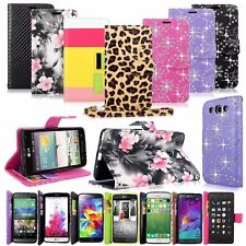Bling Gliiter Pu Leather Flip Wallet Pocket Case W/Strap For Many Phones Model