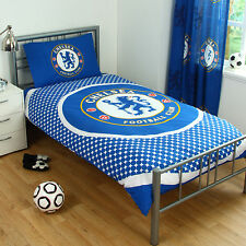 Chelsea FC Football Blue Boys Childrens Reversible Duvet Quilt Cover Bedding Set