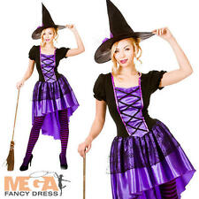 Glamorous Witch + Hat Ladies Halloween Fancy Dress Adults Womens Costume Outfit