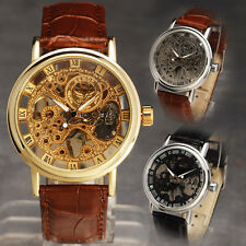 Gorgeous Ultra-Thin Golden Hollow Carve Dial Luxury Men Best Mechanical Watch