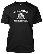 'WARNING GRUMPY OLD GIT' Funny Slogan Mens Tshirt Fathers Day Gift Birthday Xmas