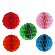 4 x Christmas Baubles 10cm Christmas Tree Decorations Tissue Paper Honeycomb