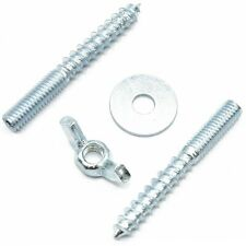 M6  WOOD TO METAL DOWELS + WING NUT + WASHER FURNITURE FIXING SCREWS ZINC BZP