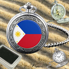 PHILIPPINES FLAG SKELETON MECHANICAL / QUARTZ MENS POCKET WATCH GIFT