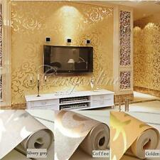 High-End 10M Luxury Embossed Pattern Textured Wallpaper Rolls Silver Grey/Gold