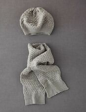 Mini Boden Girl's Brand New Textured Beret & Scarf Set Hat Mid Grey Marl