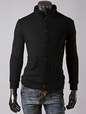 TOPS Men Slim Fit Solid Color Button Placket Cardigan Casual Knitting Coat Tops