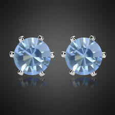Women Jewelry Sale Round Cut White Gold Plated Stud Earrings