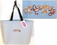 4 Happy Funny Monkeys Tote Bag + Free Name Embroidered Monogram Custom NWT!