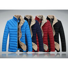 Mens Faux Fur Collar Outwear Zip Up Down Jacket Padded Quilted Coat 4 Colors