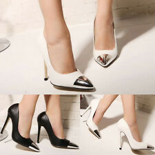 Womens Pointy Toe High Heels Pumps Classic Metal Sexy Party Cocktail Shoes