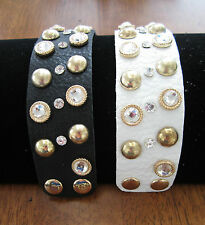 New Leather Wrist band Rocker Bracelet Gold Brass Hardware Jewels Bling Crystals