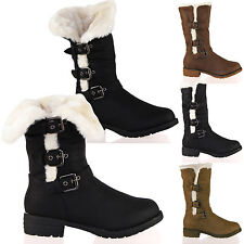 WOMENS BOOTS LADIES MID CALF LOW HEELS ZIP BUCKLE FULLY FUR LINED FOLD DOWN SIZE