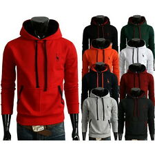 Mens Casual Long Sleeve Multi Color Pocket Solid Cotton Blend Thick Warm Hoodies