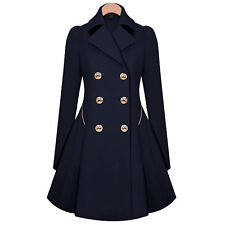 Womens Fashion Double Breasted Pea Coat Jacket Outwear Slim Fit Trench Coat