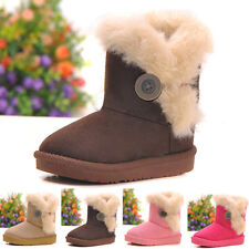 Snow Girls Pink Faux Fur Boys Mid-Calf Kids Ankle Winter Warm Boots Xams Size