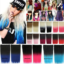 Vogue Womens Ombre Synthetic Long Straight Five Clips Gradient Hair Extension